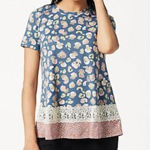 LOGO by Lori Goldstein Cotton Modal Print Top L581